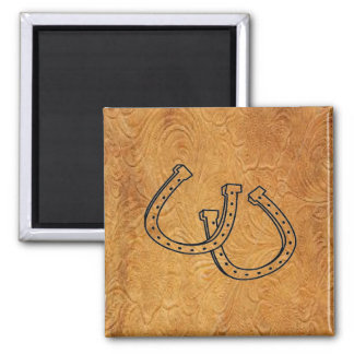 Western Leather Tool Design w/Horseshoes ~ Magnet