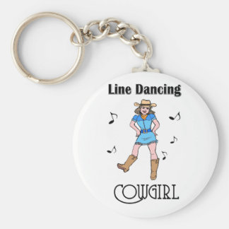 """Western """"Line Dancing Cowgirl"""" Basic Round Button Key Ring"""