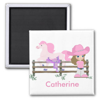 Western Little Cowgirl With Horse Magnet