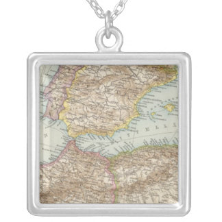 Western Mediterranean Map Silver Plated Necklace