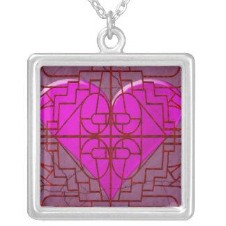 Western Metal Gate Pink Heart Pendant