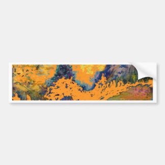 Western Mountain Aspens Landscape Painting Bumper Sticker