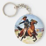 Western Nostalgia Basic Round Button Key Ring