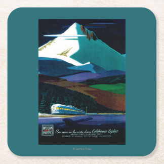 Western Pacific California Zephyr Vintage Poster Square Paper Coaster