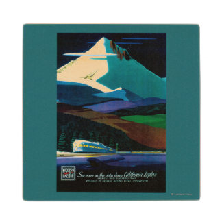 Western Pacific California Zephyr Vintage Poster Wood Coaster