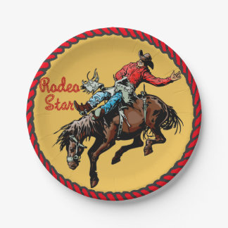 Western Party Bronc Riding Paper Plates