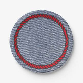 Western Party Denim Print Paper Plates