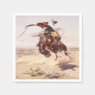 Western Party Napkins Cowboy Riding  Bucking Horse Disposable Serviette