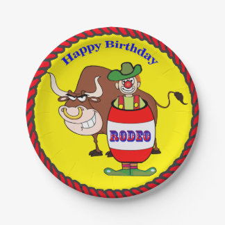 Western Party Rodeo Clown and Bull Happy Birthday 7 Inch Paper Plate