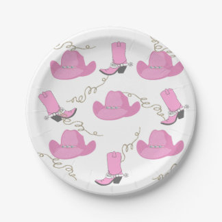 Western Pink Cowboy Boots And Hats Cowgirl Party Paper Plate