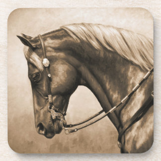 Western Ranch Horse Old Photo Sepia Coasters