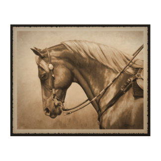 Western Ranch Horse Old Photo Sepia Wood Print