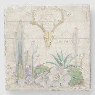 Western Range Desert Southwest Deer Antler Skull Stone Beverage Coaster