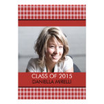 Western Red Chequered Photo Graduation Custom Invitations