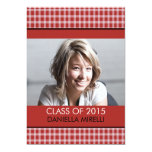 Western Red Chequered Photo Graduation Custom Invitations