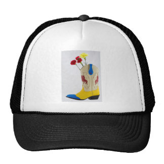 Western Red Yellow Blue Cowboy Boot Horse Rodeo Cap