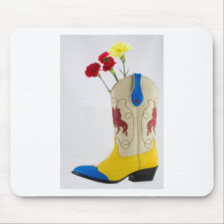 Western Red Yellow Blue Cowboy Boot Horse Rodeo Mouse Pad