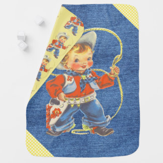 Western Retro Little Cowboy With Rope Blanket Swaddle Blankets