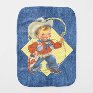 Western Retro Little Cowboy With Rope Burp Cloth