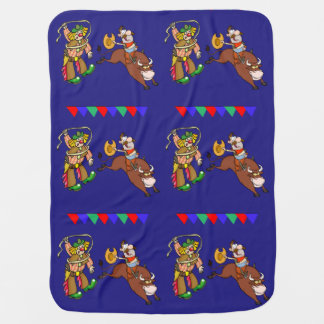 Western Rodeo Cowboy Bull Rider And Rodeo Clown Swaddle Blankets