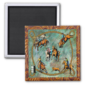 Western Rodeo Events Scene Square Magnet