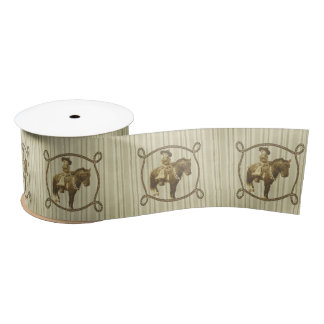 Western Rodeo Vintage Cowgirl On Horse Satin Ribbon