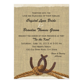 Western Rope and Horse Shoes Wedding 14 Cm X 19 Cm Invitation Card
