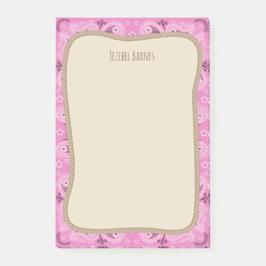 Western Rope Pink Bandanna Personalised Post-it Notes