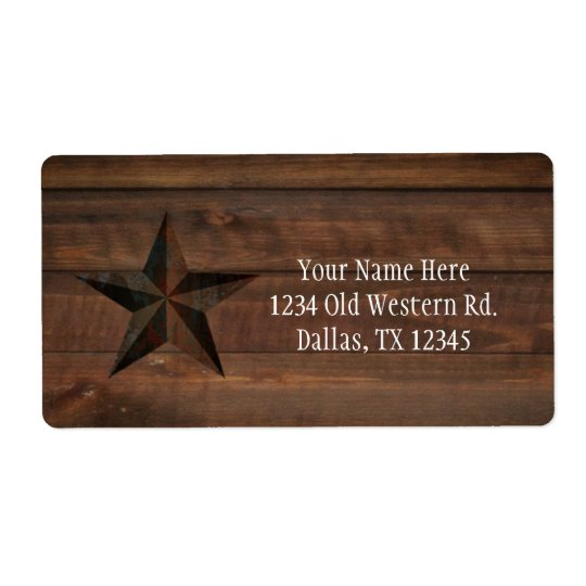 Western Rusty Star on Wood Rustic Country Party