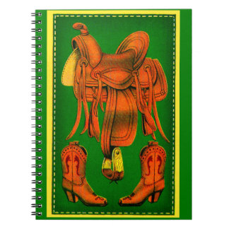 Western saddle and cowboy boots notebook