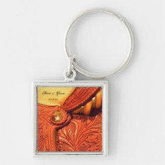 Western Saddle Country Wedding Key Ring