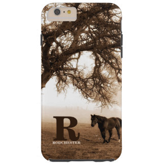 Western Sepia Horse and Oak Tree with Monogram Tough iPhone 6 Plus Case
