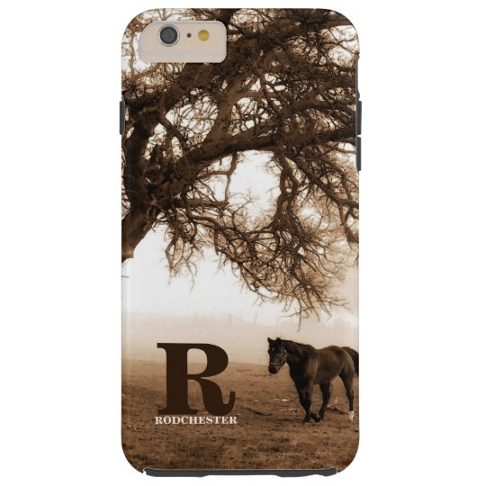 Western Sepia Horse and Oak Tree with Monogram