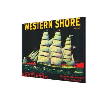Western Shore Pear Crate LabelHood, CA Canvas Print