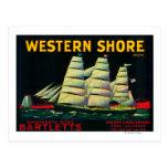 Western Shore Pear Crate LabelHood, CA Postcards