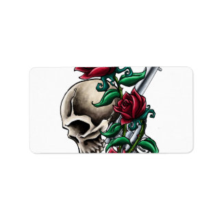 Western Skull with Red Roses and Revolver Pistol Address Label