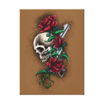 Western Skull with Red Roses and Revolver Pistol Stretched Canvas Prints