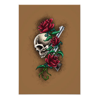 Western Skull with Red Roses and Revolver Pistol Photo Art