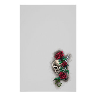 Western Skull with Red Roses and Revolver Pistol Stationery