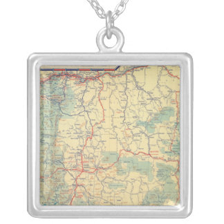Western States road map Silver Plated Necklace
