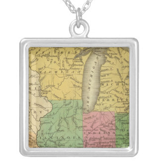 Western states, territories silver plated necklace