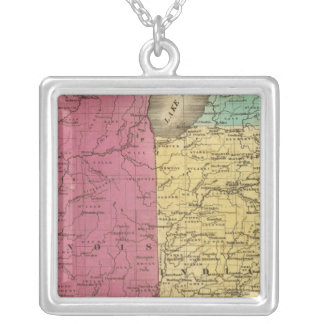Western States with inset map of Upper Michigan Silver Plated Necklace