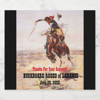 Western Style Cowboy and Bucking Horse Rodeo Beer Bottle Label