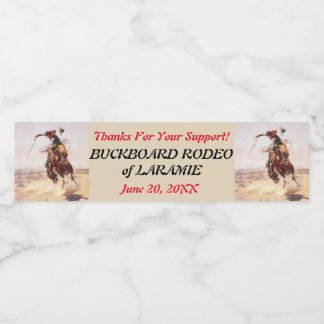 Western Style Cowboy and Bucking Horse Rodeo Water Bottle Label