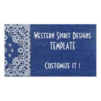 Western style Dark Blue Denim Biz Cards Business Card Template