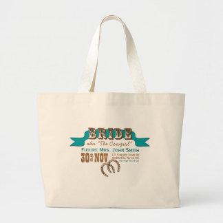 Western Style Wedding Tote (BRIDE) Jumbo Tote Bag