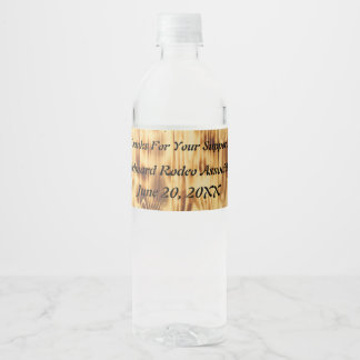 Western Style Wooden Boards and Bucking Horse Water Bottle Label