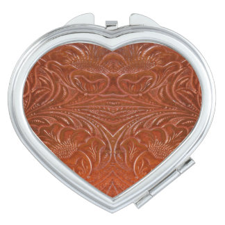 Western-styled Tooled-Leather-look Design 2 Vanity Mirrors