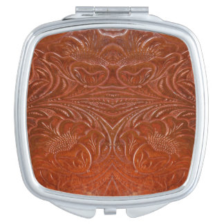 Western-styled Tooled-Leather-look Design 2 Makeup Mirror