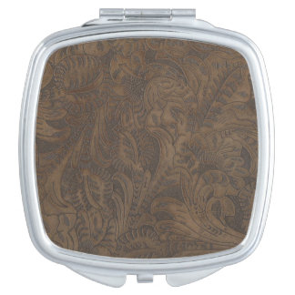 Western-styled Tooled-Leather-look Design 3 Mirrors For Makeup